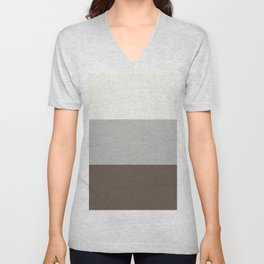 BM 2019 Color of Year Metropolitan AF-690, Mustang and Snowfall White Bold Horizontal Stripes Blocks Unisex V-Neck