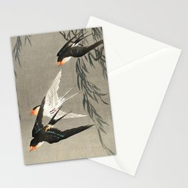 Red tailed swallows in flight - Japanese vintage woodblock print art Stationery Cards