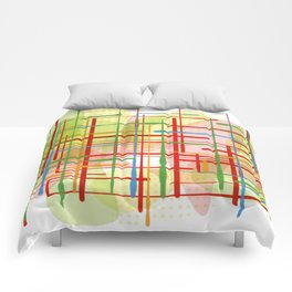 Abstract Lines Shapes Green and Yellow Comforters