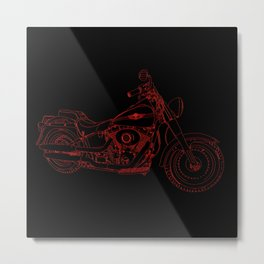 cycle right side, red on black Metal Print