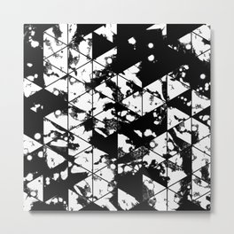 Splatter Triangles - Black and white, abstract, paint splat, triangular pattern Metal Print