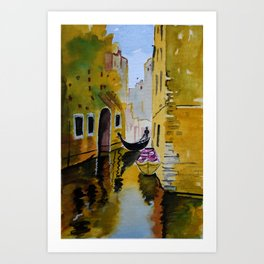 Rowing through the enchanted realms of Venice. Art Print