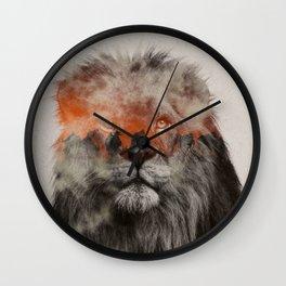 Lion In Fog Wall Clock