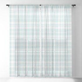 Cozy Plaid in Mint Sheer Curtain