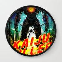 kaiju Wall Clocks featuring Kaiju Killer by leea1968