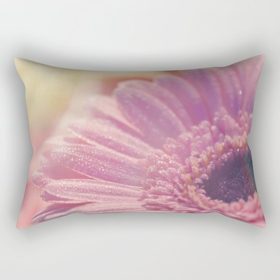 Pink Gerbera Daisy Flower with sparkling waterdrops #Society6 Rectangular Pillow