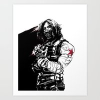 the winter soldier Art Prints featuring Winter Soldier by Irene Flores