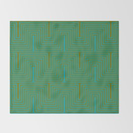 Doors & corners op art pattern in olive green and aqua blue Throw Blanket