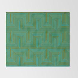 Doors & corners op art pattern in olive green and aqua blue Throw Blanket