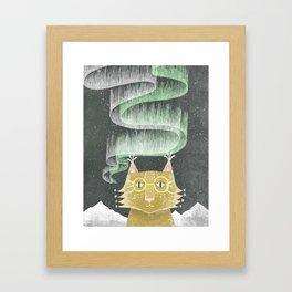 Lynx in Northern Lights 1 Framed Art Print