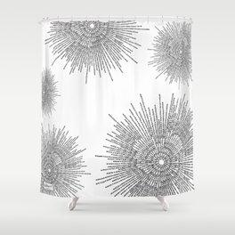 Bridging on White Background Shower Curtain