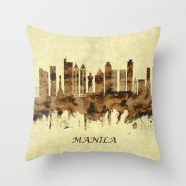 Manila Philippines Cityscape Throw Pillow