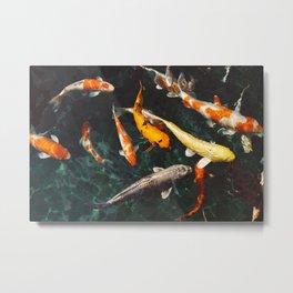 Geometric Koi Fishes Metal Print