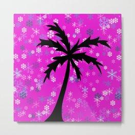 Palm Tree and Snowflakes Metal Print