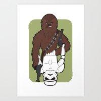Chewbacca and Stormtrooper Art Print