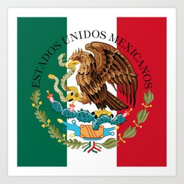 Flag of Mexico & Coat of Arms augmented scale Art Print