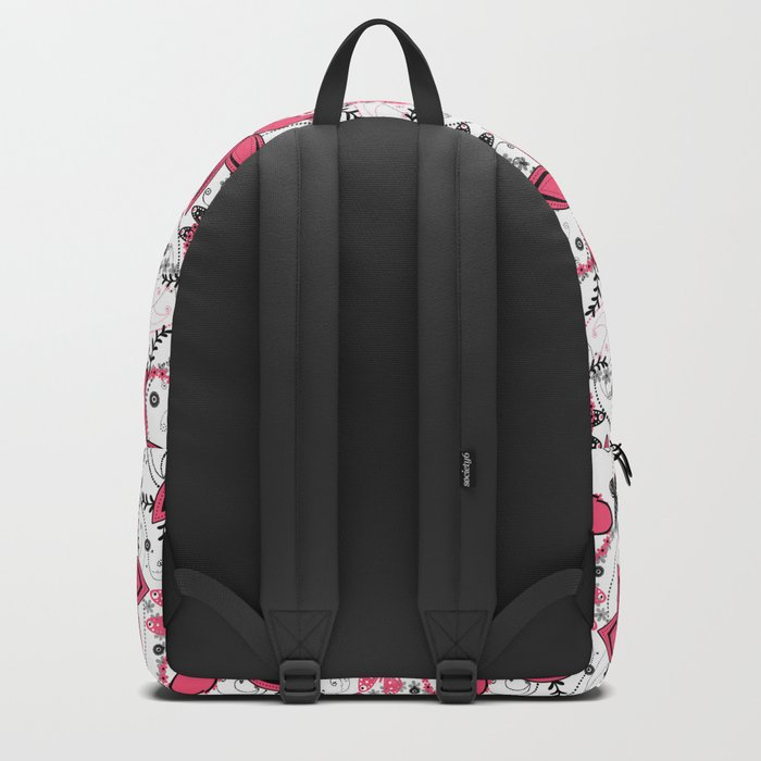 Pink black and white floral pattern . Backpack