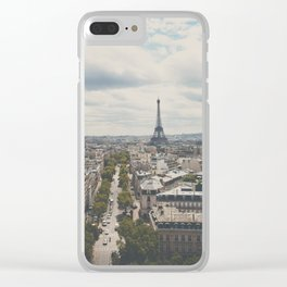 Paris from atop the Arc de Triomphe ... Clear iPhone Case