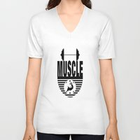 muscle V-neck T-shirts featuring MUSCLE  by Robleedesigns
