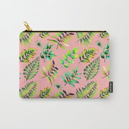 Watercolor Leaves pattern - pink background Carry-All Pouch