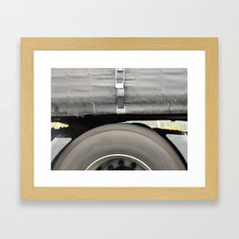 HGVs rear wheel running on motorway Framed Art Print