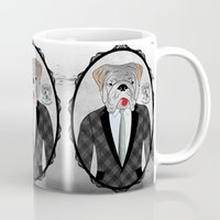 english bulldog Mugs featuring Mr. Dandy - English Bulldog by Rozenblyum Couture