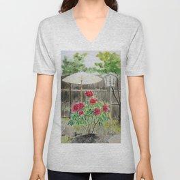 Peony in Japanese Garden Unisex V-Neck