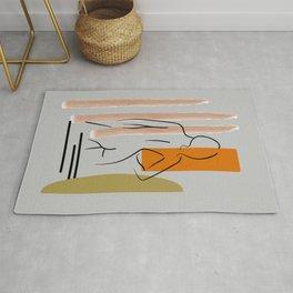 Woman one line drawing, Female figure printable wall art, Nude art, Woman body Rug