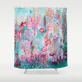 Neon Garden Shower Curtain
