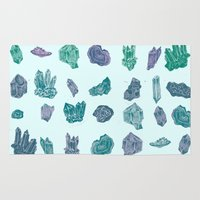minerals Area & Throw Rugs featuring Mystical Minerals by Hannah Margaret Illustrations