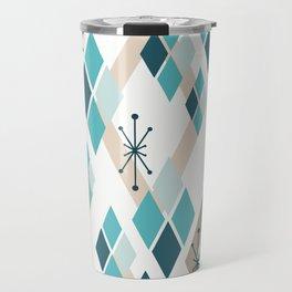 Mid Century Modern Diamonds (Teal) Travel Mug