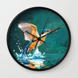 Oil painting kingfisher Wall Clock