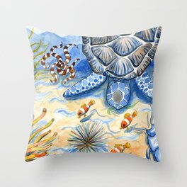 Sea Turtle - Bottom of the Sea Watercolor Painting Throw Pillow