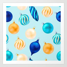Christmas Bulbs Pattern Art Print