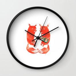 Mister Fox in love Wall Clock