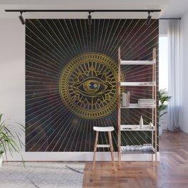 All Seeing Mystic Eye Gold on Nebula Sky Wall Mural