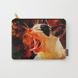 evil cat mouth wide open splatter watercolor Carry-All Pouch
