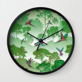 Macaw Canopy // Green Wall Clock