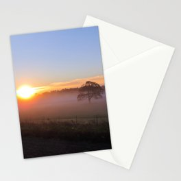 SOLITARY TREE ENCASED IN FOG WITH SUN RISING Stationery Cards