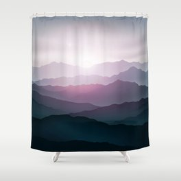 dark blue mountain landscape with fog and a sunrise and sunset Shower Curtain