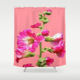 Pink Coral Hollyhock Flowers Blooming Design Shower Curtain