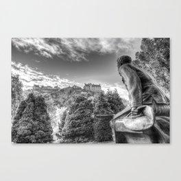 Scots American Memorial And Edinburgh Castle Canvas Print