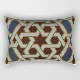 Red Blue and Gold Mosaic Painted tile   Rectangular Pillow