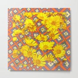 Golden Yellow Blooming Coreopsis Flowers Modern Art Metal Print