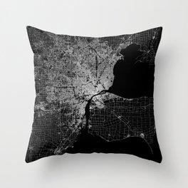 Detroit map  Throw Pillow
