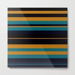 Pattern Formes Bandes Jaune/Bleu Metal Print