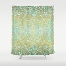 Mint & Gold Effect Diamond Doodle Pattern Shower Curtain