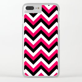 Pink White and Black Chevrons Clear iPhone Case