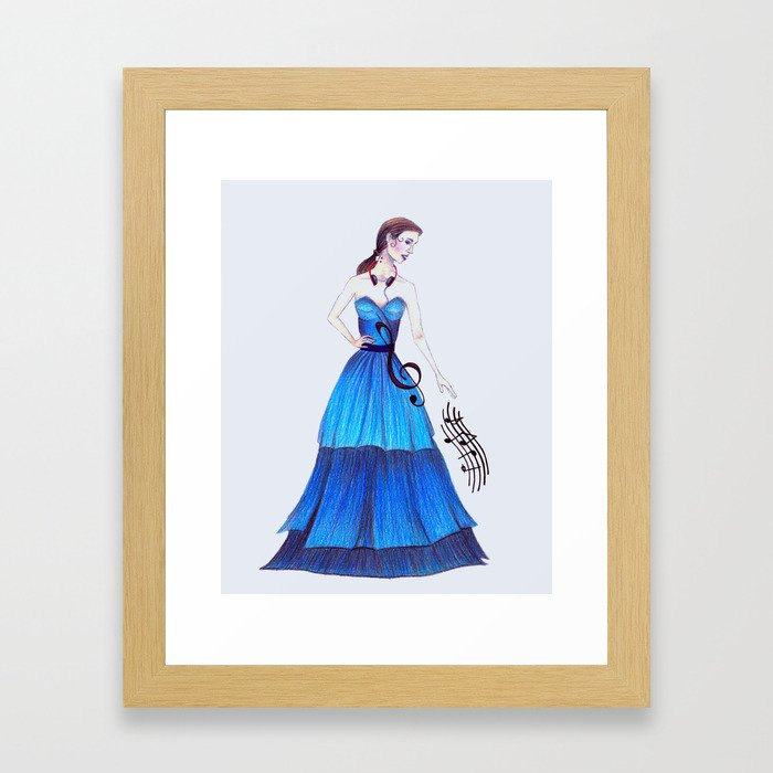 Woman in Blue Framed Art Print