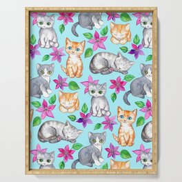 Kittens and Clematis - blue Serving Tray